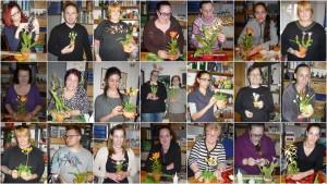 Tanulók, akik agyagvirágot készítettek